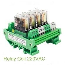 4 Channel 1 SPDT DIN Rail Mount 220VAC Interface Relay Module