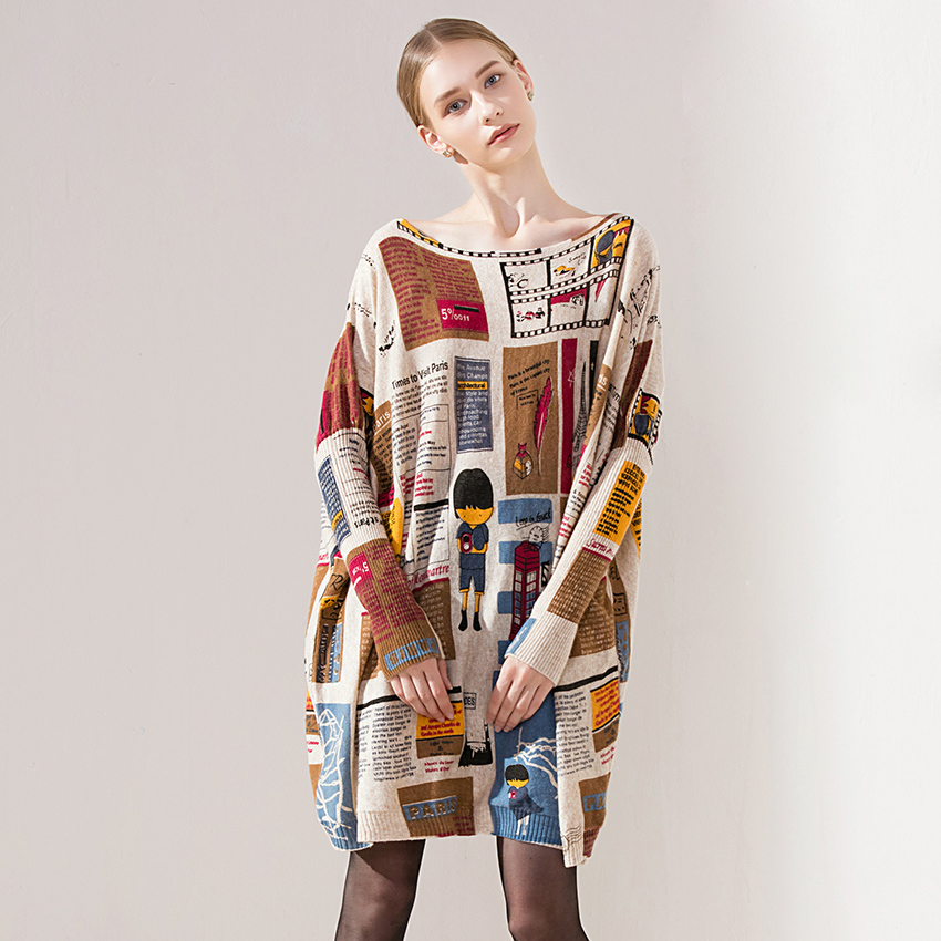 2018 New Fashion Autumn Winter Women Wool Sweaters Casual Long Sleeves Knit Loose Sweater Pullovers O-Neck Tops Plus Size Dress