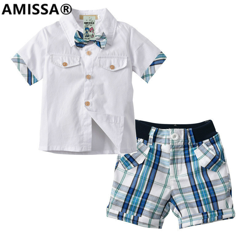 Amissa 2t-7t Boys Sleeve Casual Shirt Shorts 2 Suits Kids Summer Clothes Clothing Set Pantsuit Costumes For Children Cotton