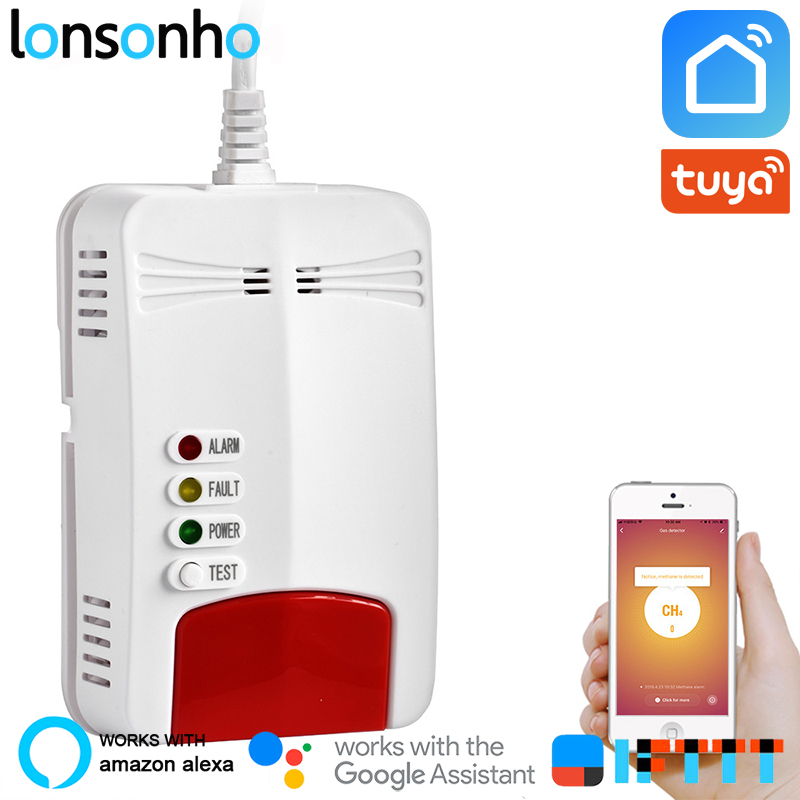 Lonsonho Wifi Gas Sensor Gas Leak Detector Alarm Tuya Smart Life App Smart Home Security Works With Alexa Google Home IFTTT