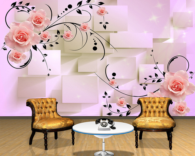 beibehang Custom modern wall paper circle and roses sitting room TV ...
