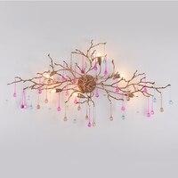 Phube освещение художественные ветви кристалл настенный светильник капли воды настенный светильник цветной глазурованный Бар Салон Медь Бра