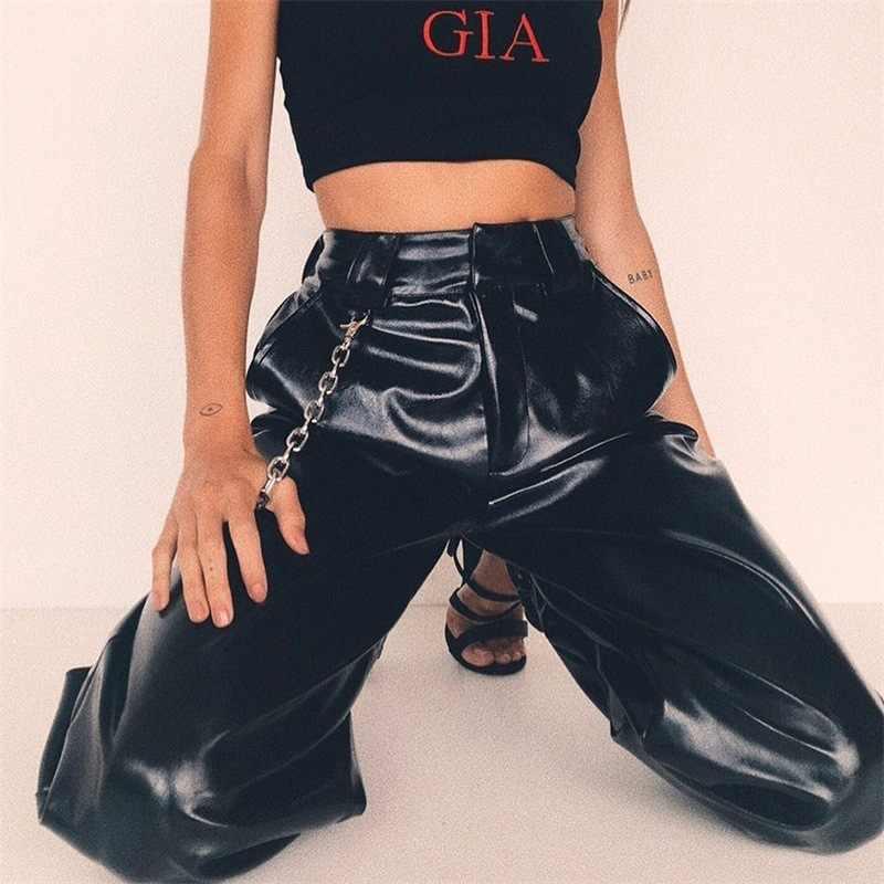 JIEZuoFang sólido Cadena de cuero Harem Pantalones mujer holgado pantalones largos mujeres moda Hip Hop pantalones de chándal ropa de calle