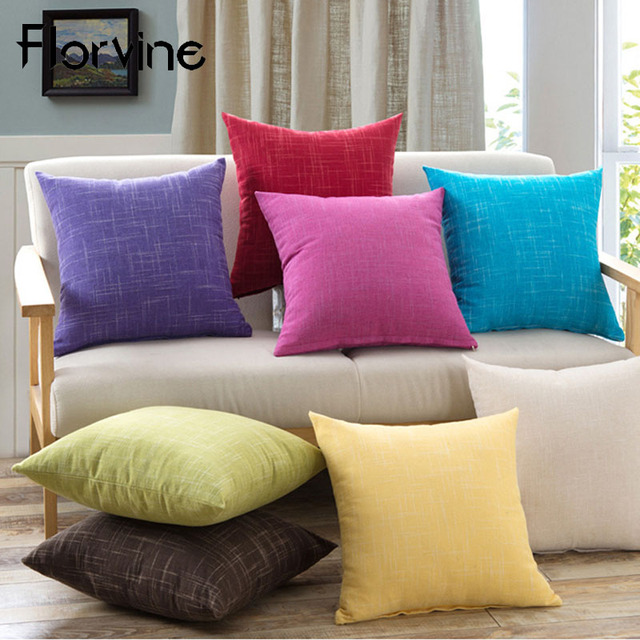 Us 3 83 21 Off Aliexpress Com Buy Decorative Cushion Cover 45x45cm Cotton Linen Throw Pillow Covers Vintage Solid Pillow Case Home Throw Cushions