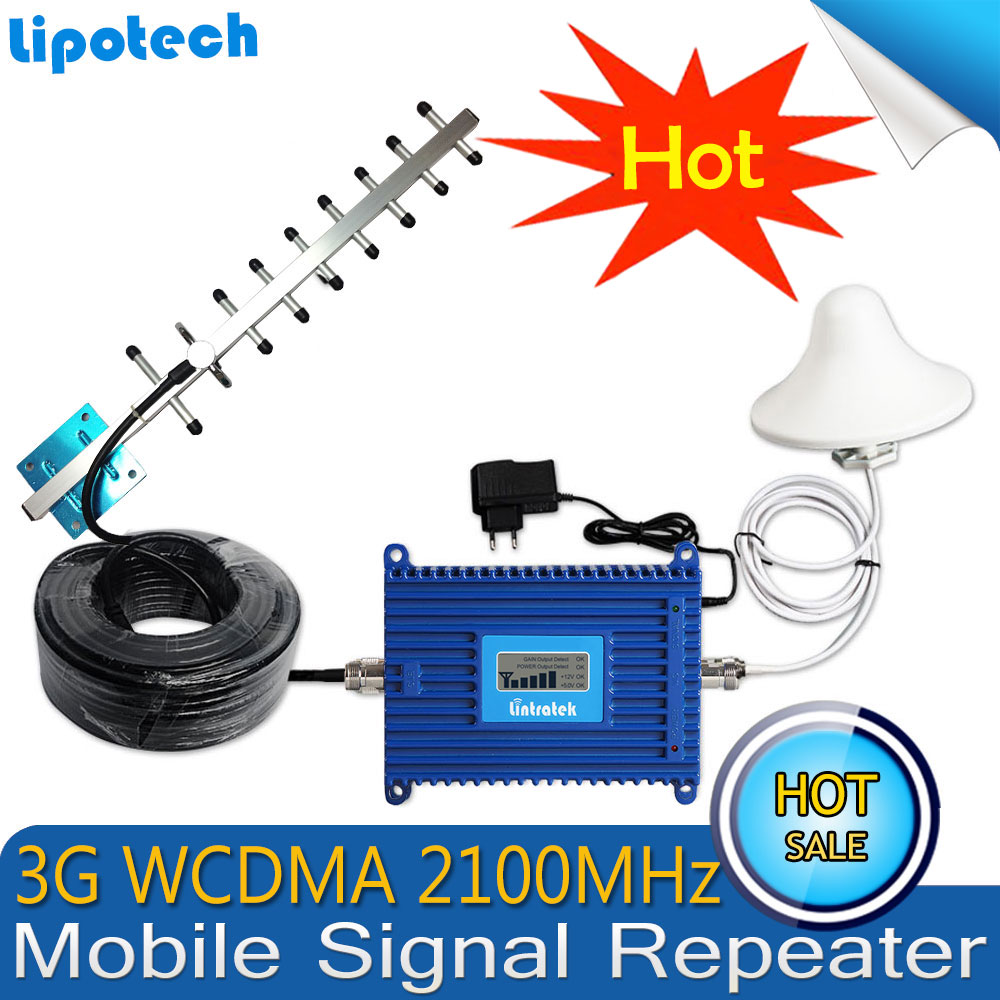 Lintratek WCDMA 2100MHz 3G Mobile Signal Booster Gain70dB UMTS (HSPA) With 3G Antennas Signal Repeater Cellular Amplifier