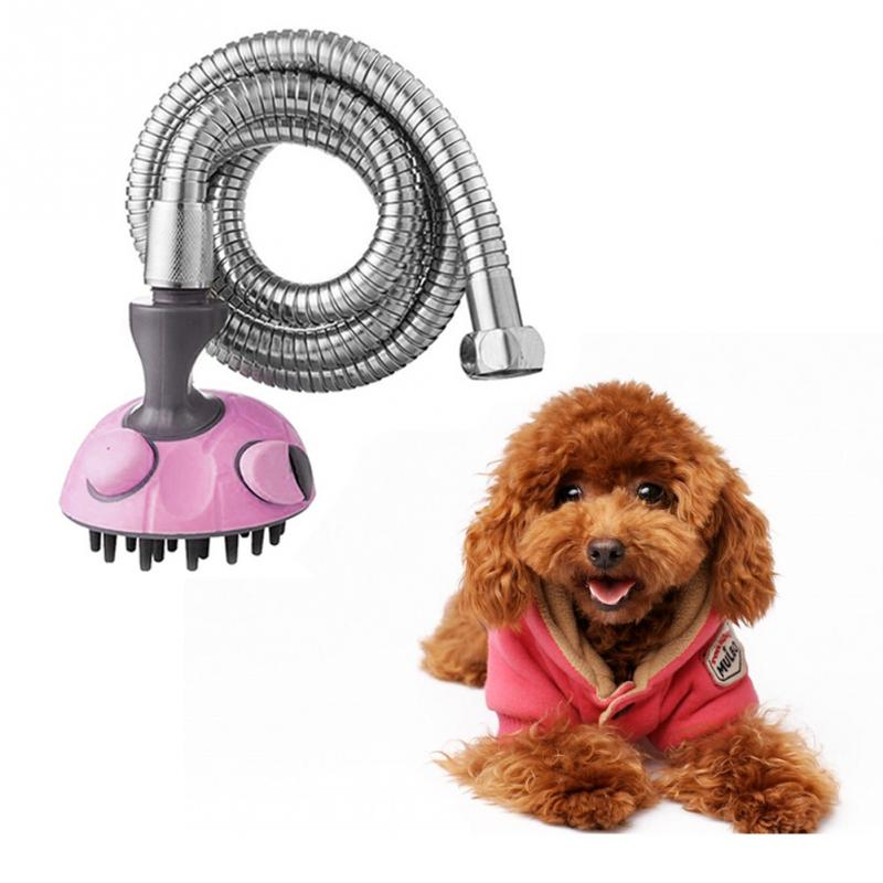 multifunction Pet Bath Sprayer Dog Shower Brush Cat Massager Shampoo Handheld Sprayer with Stainless Steel Hose