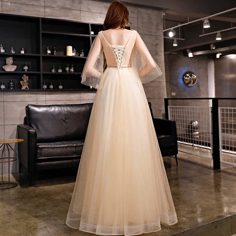 5591773cd2032 Walk Beside You Bling Prom Dresses 2019 Champagne V-neck Short Sleeve  A-line Crystal Tulle Long Floor Length Evening Gowns Party