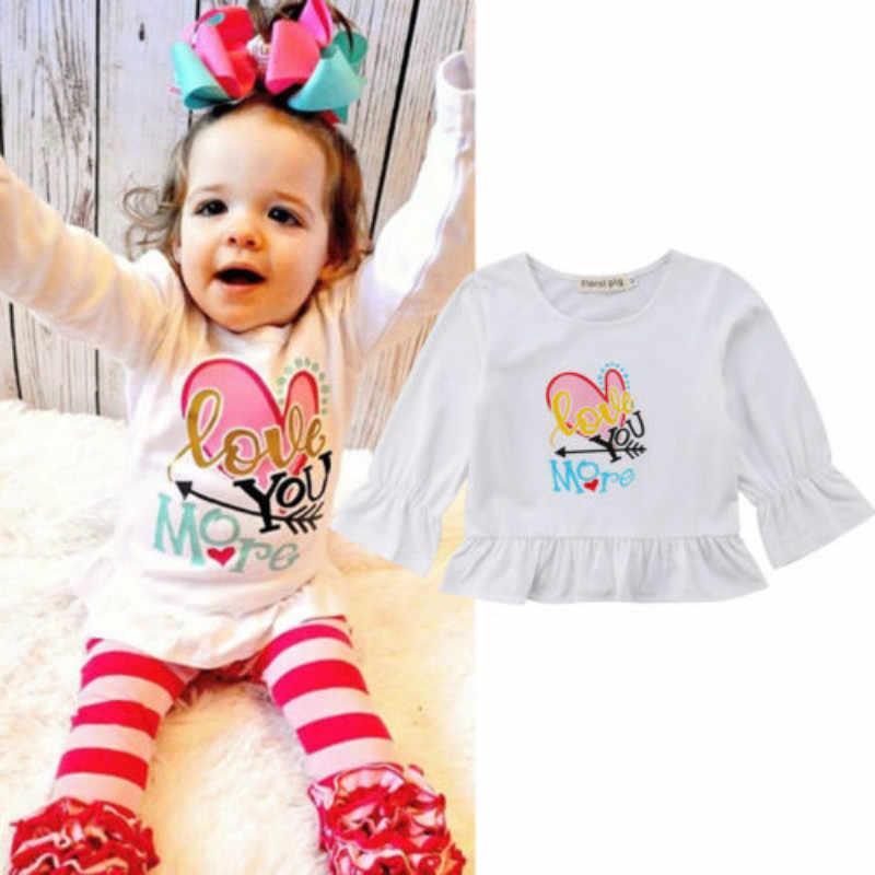 Bé Kid Cô Gái Bông Giản Dị Dài Tay Áo T-Shirt Lớn Chị Em In Tee Áo Blouse