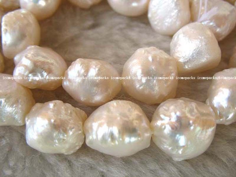 unique! freshwater pearl white 10-13mm baroque 15