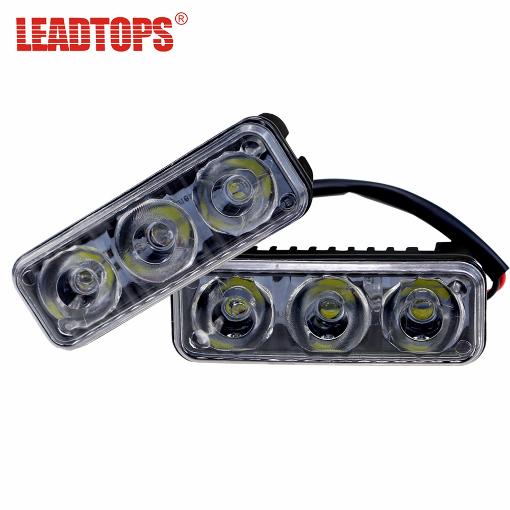 LEADTOPS Car Styling 6 Led DRL 9W Daytime Running Lights Automobiles Universal Source Ex ...