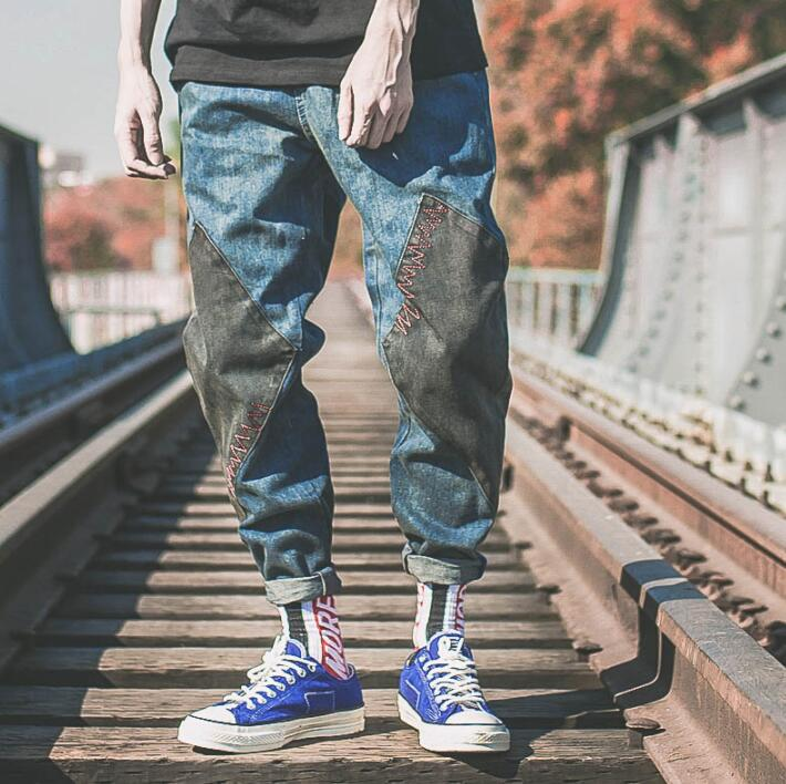 Retro street personality fashion splice harem pants mens trousers Straight loose pantalones hombre cargo feet pants for men