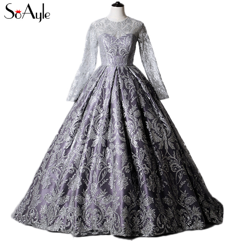 SoAyle Real Picture Ball Gown Long Sleeves Prom Dresses Sequin Glitter Fluffy Gowns Formal Gown Bling Bling Sliver Grey Dresses  gown