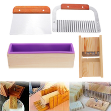 Wood Soap Making Tools Kit   1x Silicone Mold with Wood Box + 1x Straight Cutter + 1x Wavy Cutter + 1x Soap Beveler Planer