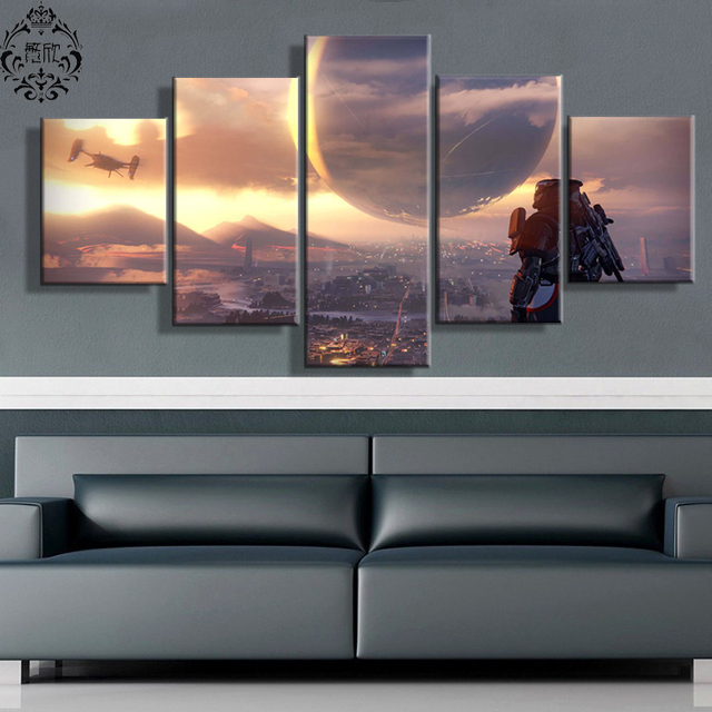 5 Pieces Game Poster Destiny Scenic Wall Art Painting Canvas Printed ...