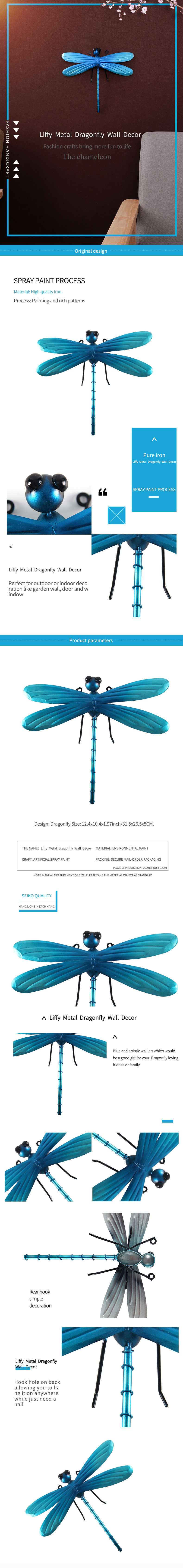 Metal Dragonfly Fairy Wall Decoration for Garden Decoration Outdoor Accessories Sculpture in Miniature Garden Statues
