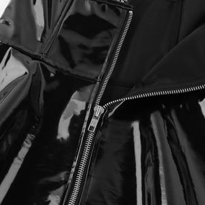 Image 5 - iiniim Womens Sexy Night Club Dress Costumes Wetlook Punk Style Patent Leather Zipper X back Vintage Performance Corset Dress