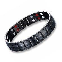 все цены на Magnetic titanium bracelet for men negative ion magnets germanium health bracelets jewelry онлайн