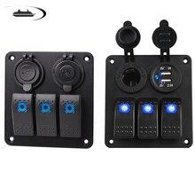 цена на 3/4 /2 Gang Waterproof Boat Switch Panel 12~24V Marine Car Rocker Switch Panel Control Car Dual USB Charger with Blue LED