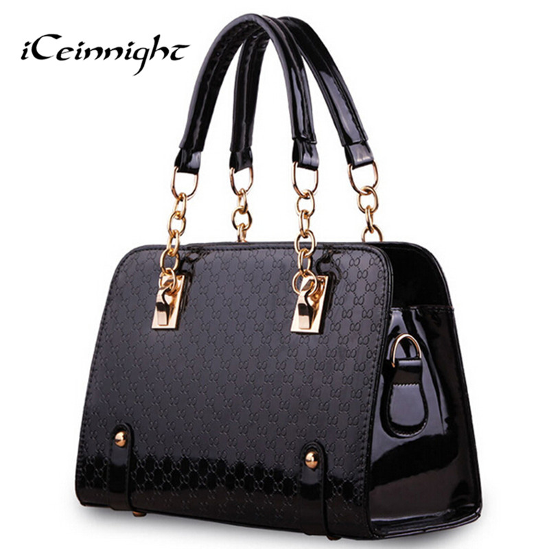 iCeinnight Trunk Women Leather Handbag Long Belt Shoulder Bags Plaid Chain Bag S