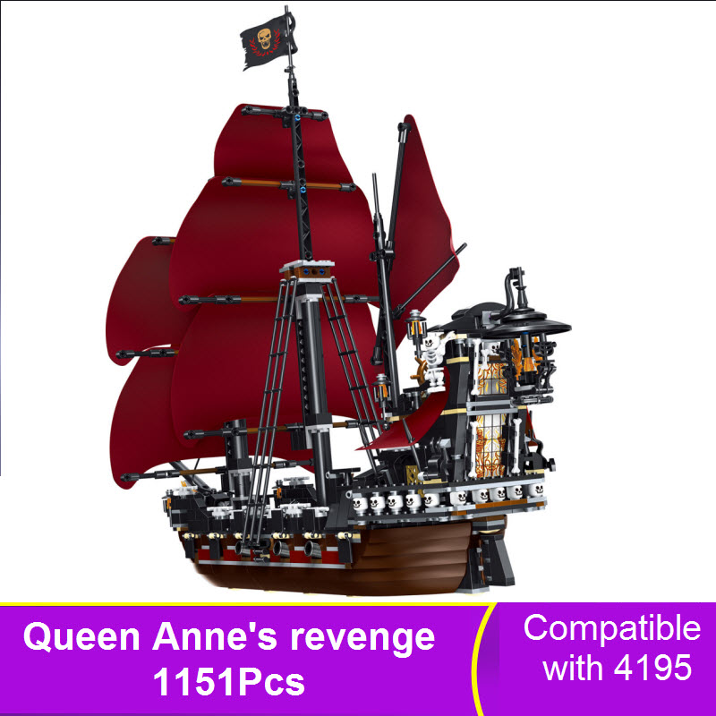 LEPIN 16009 1151Pcs Queen Anne's Revenge Pirates of the Caribbean Model Building Blocks Bricks Compatible 4195 Toys For Children dhl lepin 22001 imperial warships 16009 queen anne s revenge model building blocks for children pirates toys clone 10210 4195