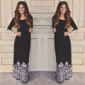 Ladies Vintage Womens Elegant Sexy Lace Patchwork Black Long Sleeves Party Stretch Bodycon Fitted Maxi Long Dresses