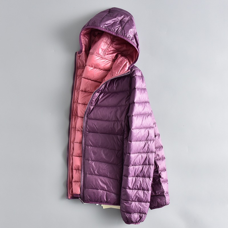Winter Women Ultra Light   Down   Jacket 90% Duck   Down   Hooded Jackets Long Sleeve Warm Slim   Coat   Parka Female Portable Outwear D189