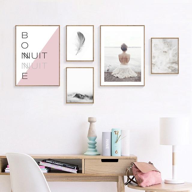 Art roze wit Poster en Print Muur Canvas Schilderij Nordic Stijl ...