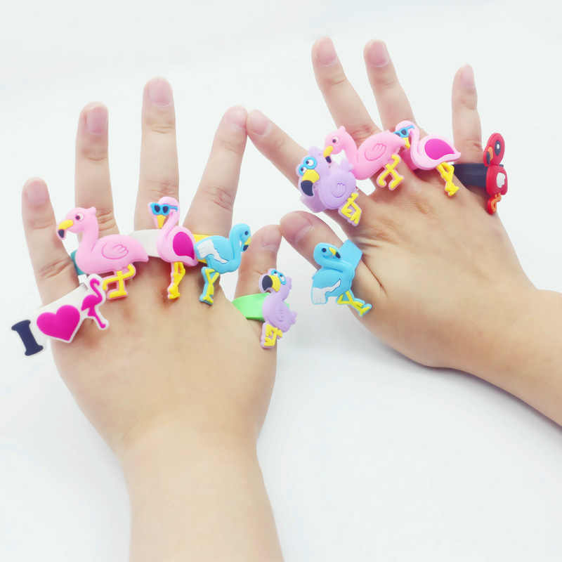 6pcs Silicone Cartoon Flamingo Finger Rings Jewelry Toys for Hawaiian Party Decoration Wedding Birthday Kids Gifts