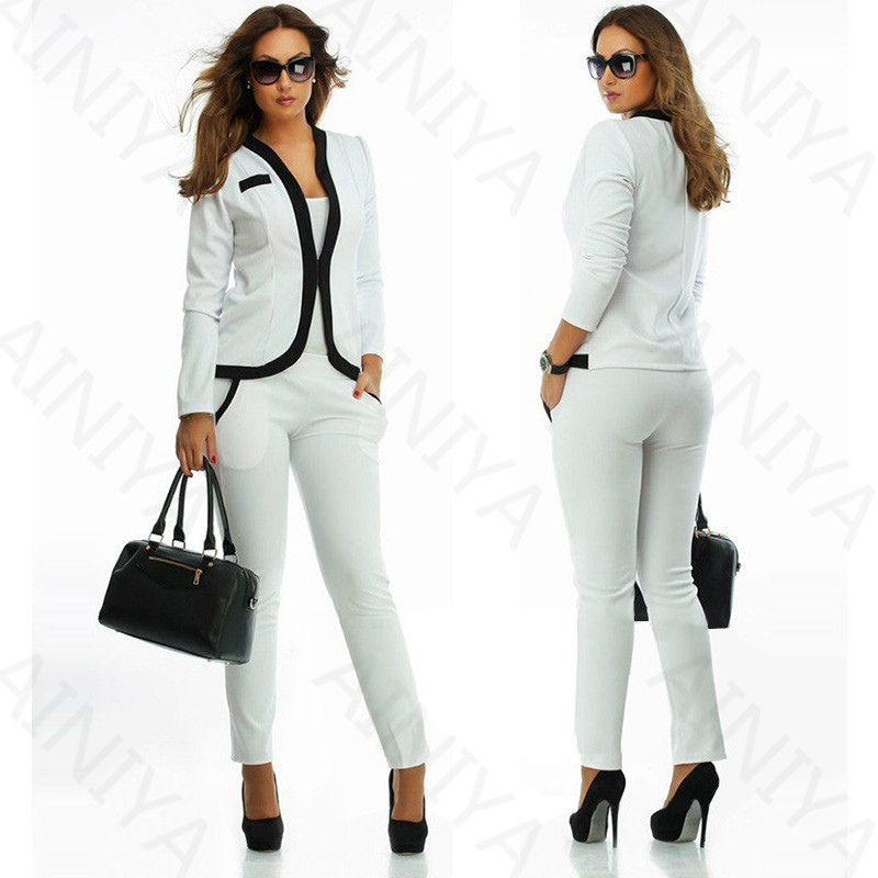 White New Formal Suits for Women Office Business Suits pants Work Wear 2 Pieces Sets Office Uniform Styles Elegant Black Lapel