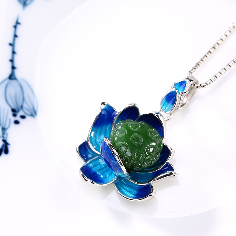 2018 New silver S925 pure silver antique mosaic and jade cloisonne enamel lotus lotus pendant wholesale цена и фото
