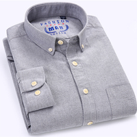 Plus Size 2017 Men S Long Sleeve Solid Oxford Dress Shirt With Left Chest Pocket Slim