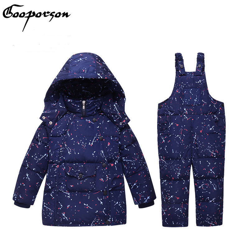 Kids Duck Down Jakcet Set Hoody Long Sleeve Jackets With Overall Warm Set Fashion Winter Sets For Boys And Girls Clothing 2015 new autumn winter warm boys girls suit children s sets baby boys hooded clothing set girl kids sets sweatshirts and pant