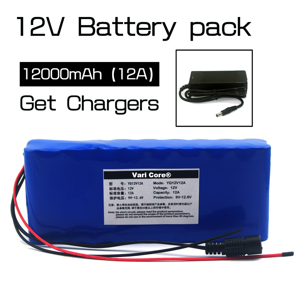 12v 18650 Lithium-ion Battery Pack 12A Protection plate 12000mAh Hunting lamp xenon Fishing Lamp USE+12.6v 3A charger