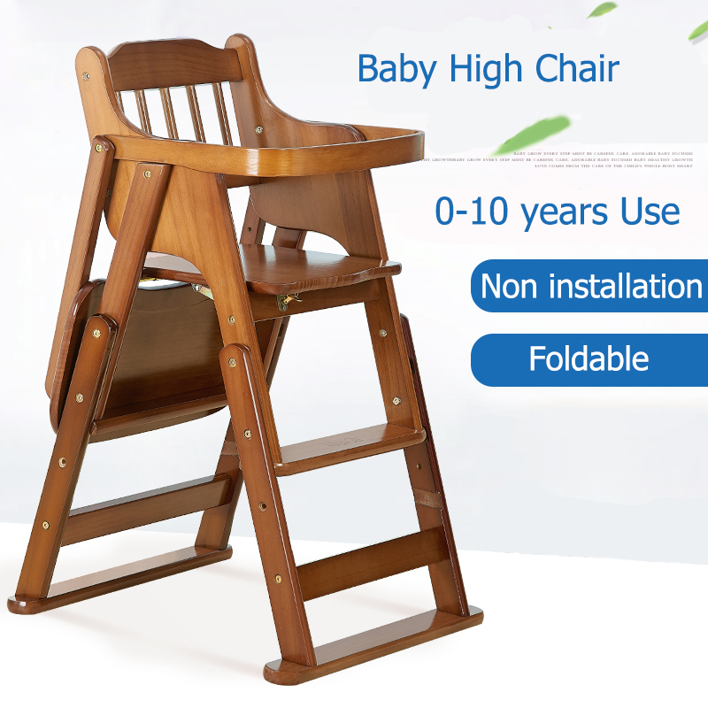 Folding Chair Desk Leather With No Wheels High Chairs Baby Child Eat Wood Seat Multifunctional Portable Solid