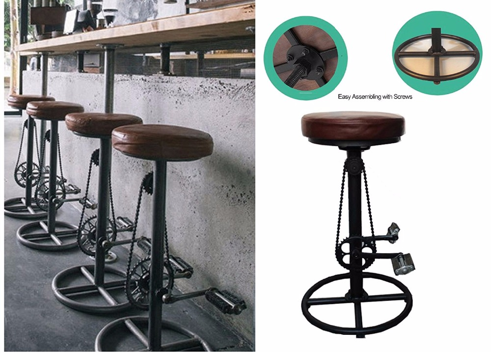 Groovy Us 113 95 5 Off Vintage Diy Bar Stool Pu Soft Seat Iron Pedal Retro Industrial Height Adjustable Bicycle Wheel Design Swivel Bar Chair In Bar Chairs Evergreenethics Interior Chair Design Evergreenethicsorg