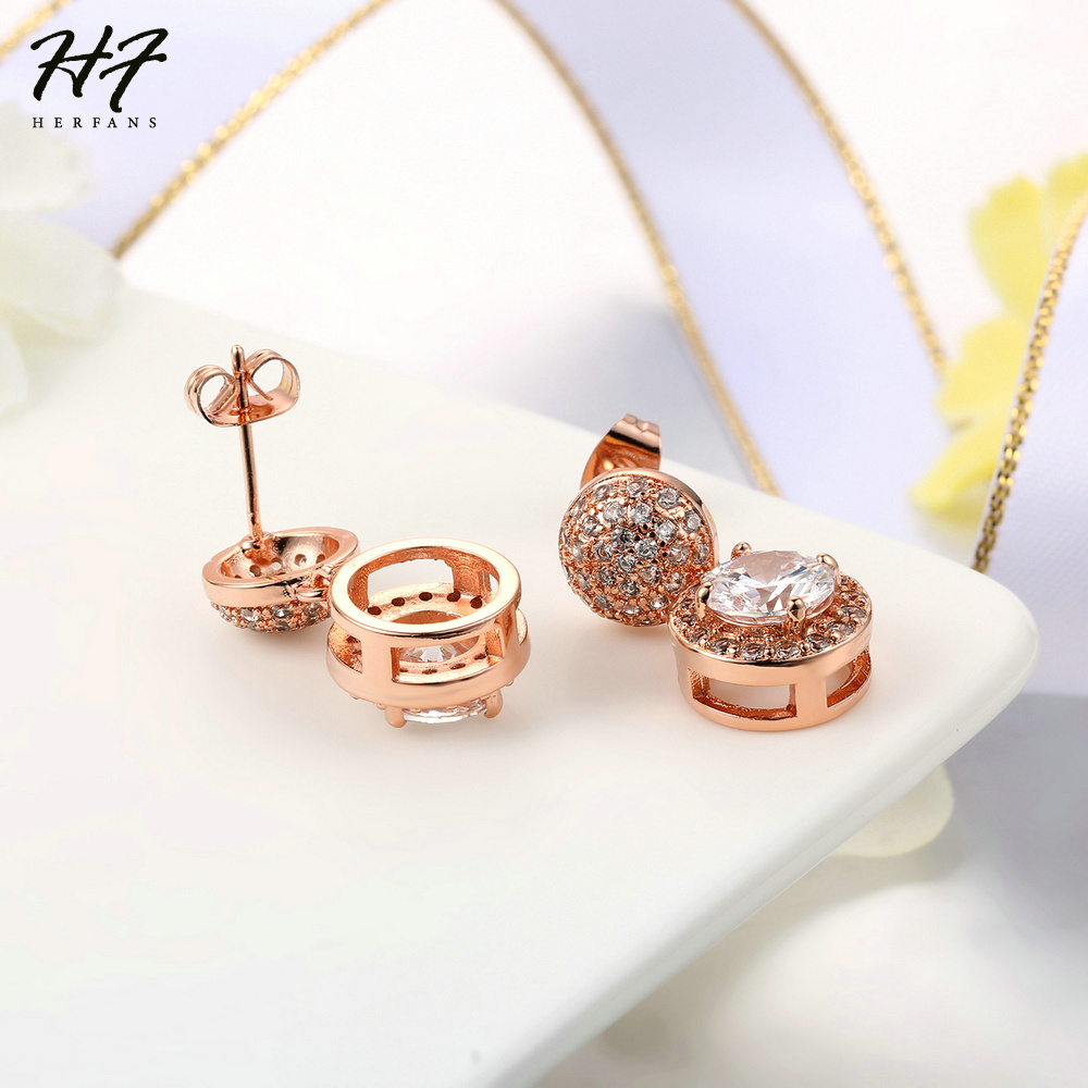 Top Quality CZ Crystal Earrings Rose Gold Color Fashion Jewelry Made