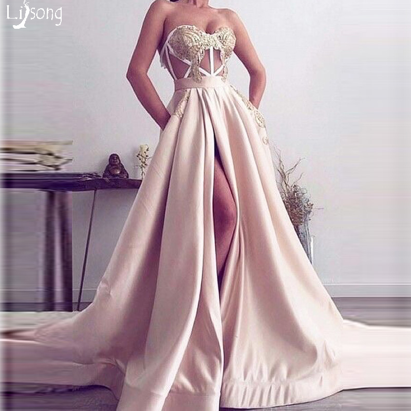 Blush Pink Simple   Prom     Dress   High Leg Split with Pockets Gold Appliques see through back Special Formal Maxi Gowns Vestido Noiva