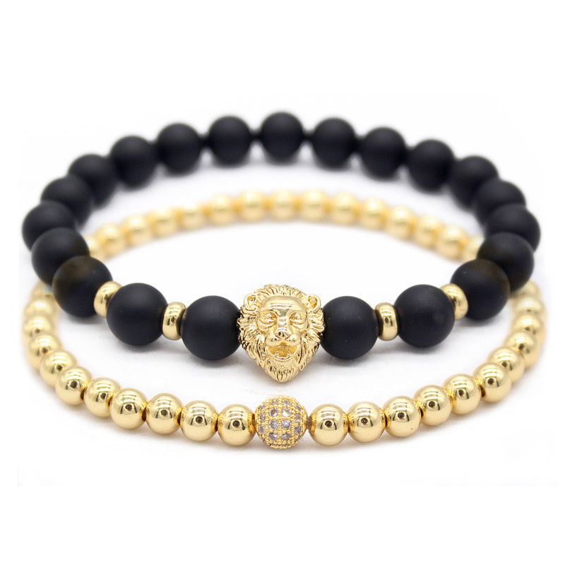 Poshfeel Luxury 2pcs/set Gold Lion Bracelets & Bangles 8mm Natural Stone Bead Bracelet Set Men Jewelry Gift MBR180300 bracelet