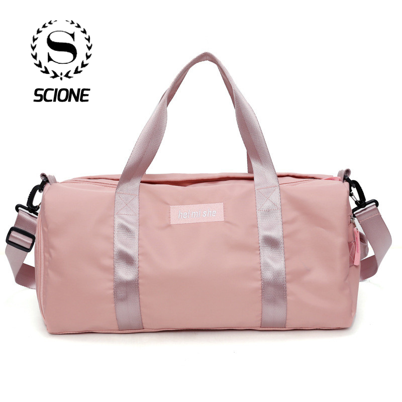 Scione Unisex Cylinder Solid Luggage Handbag Simple Nylon Travel Duffel Shoulder Bag Waterproof Sports Gym Messenger Shoe Pack