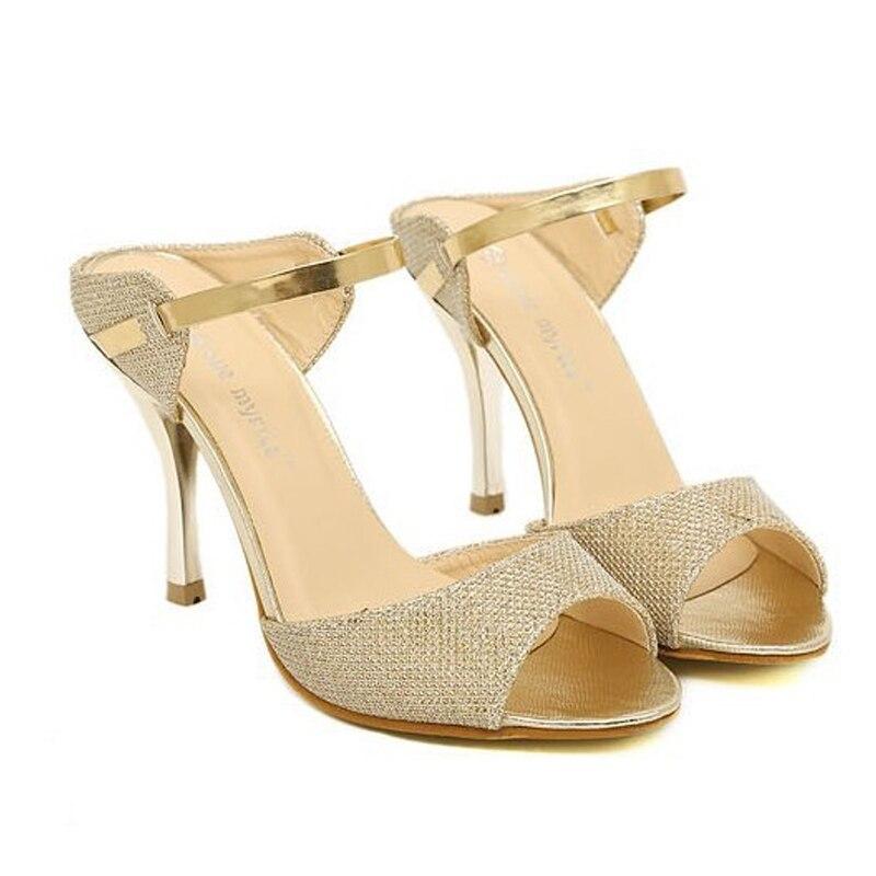 Summer Style Women Sandals Peep Toe Ankle Wrap High Heels Sapatos Femininos  Gold White Color Wedding Shoes Bride Ladies Pumps 7d7957709d9c