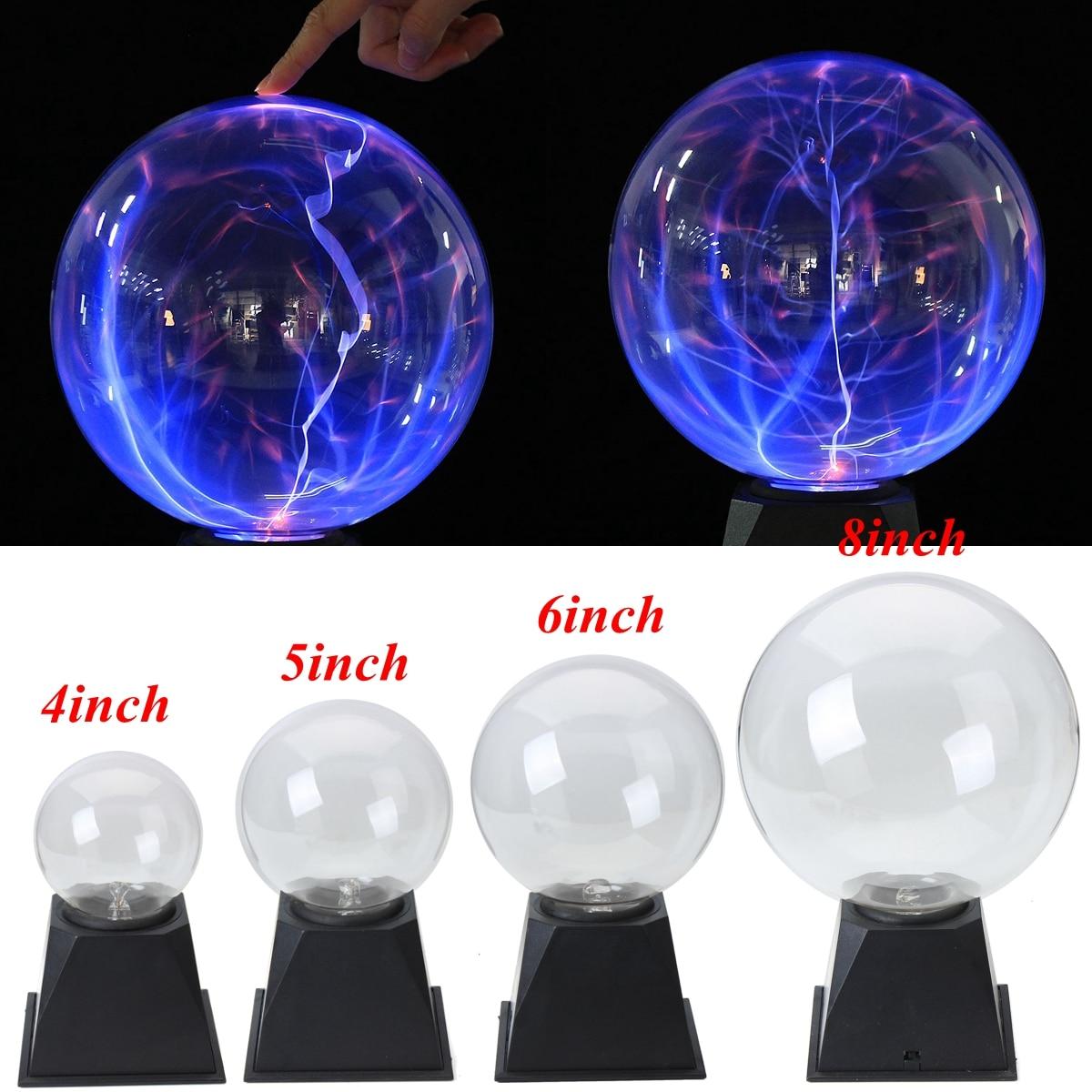 Voice control Glass Magic Plasma Ball Light 4 5 6 8 inch Table Lights Sphere Nightlight Magic Plasma Night Lamp Gift For Kids sphere