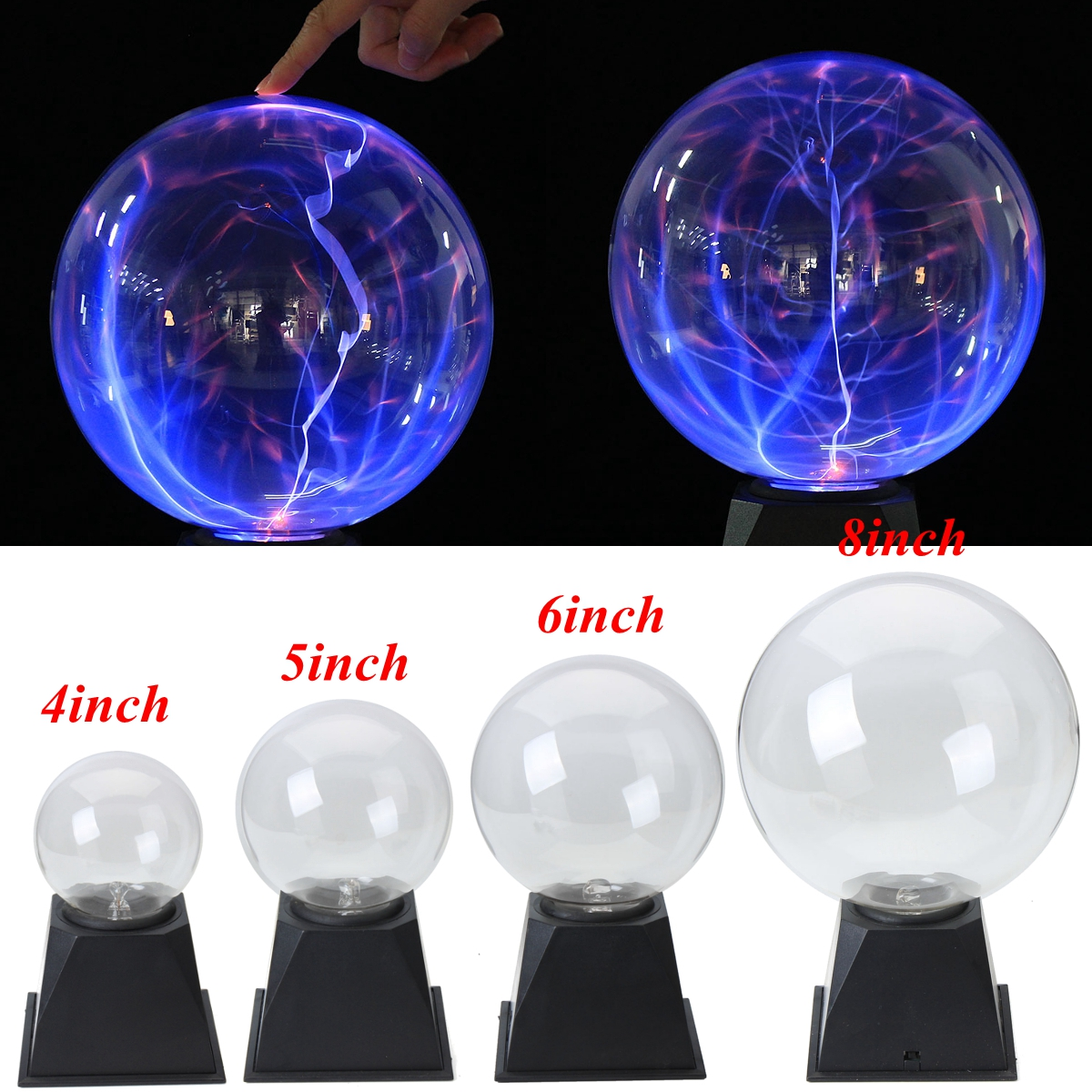 Voice control Glass Magic Plasma Ball Light 4 5 6 8 inch Table Lights Sphere Nightlight Magic Plasma Night Lamp Gift For Kids