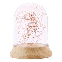 New Glass Cover Wood Base Bedside Lamp Firework Led Table Light Night Light Christmas Gift For