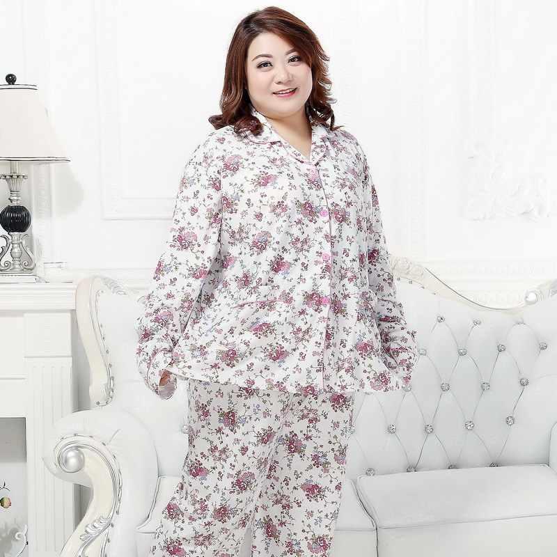 KISBINI Plus Size 3XL-5XL High Quality Women Pajamas Set Suit Floral Pure  Cotton Autumn 445cd22cb