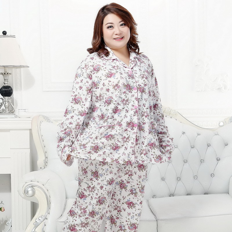 KISBINI Plus Size 3XL-5XL High Quality Women   Pajamas     Set   Suit Floral Pure Cotton Autumn Spring For Mother Mom Gift Sleepwear