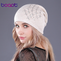 [Boapt] diamante doble cubierta de punto de lana gruesa de invierno de las mujeres sombreros pliegues skullies gorros gorras para las niñas beanie caliente sombrero femenino