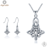 Angel Caller Genuine 925 Sterling Silver Jewelry Sets Irish Celtics Knot Pendant Necklace Dangle Earrings Fine Jewelry for Women