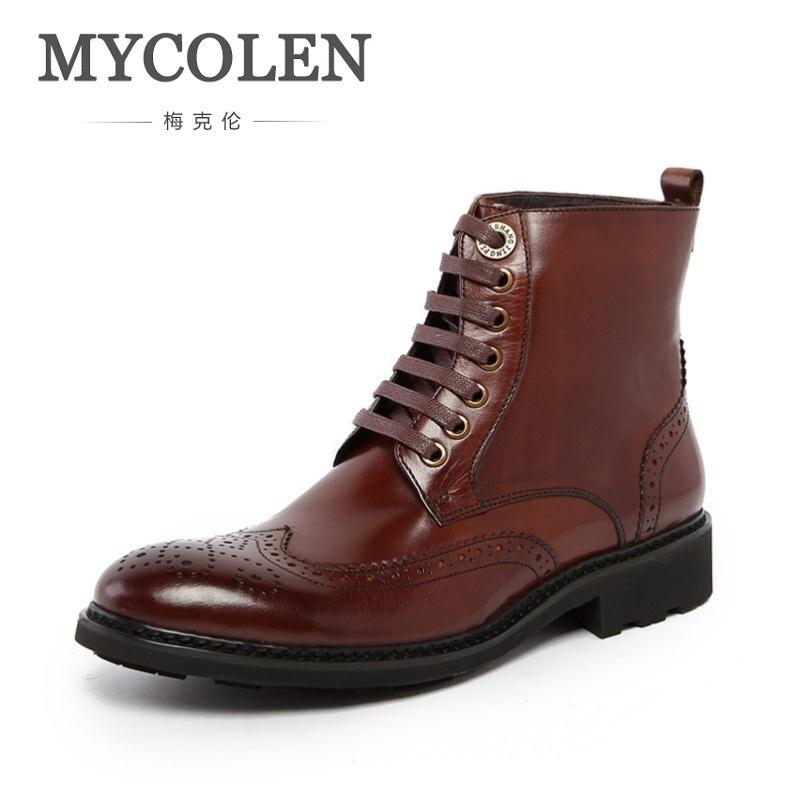 MYCOLEN Mens Fashion Martin Boots Genuine Leather Shoes Men's Ankle Black Booties Carving Cowboy Boot Casual Shoes Botte wool felt cowboy hat stetson black 50cm