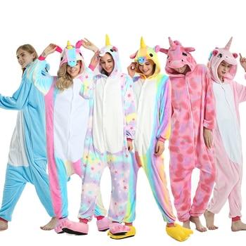 2019 зима единорог пижамы Стежка животных Пижама Кигуруми для женщин мужчин  унисекс для взрослых фланелевая ночная рубашка комплекты 7dc93c06e4bed