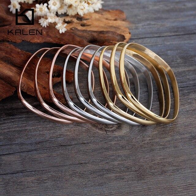 Kalen Multi-strand Square Shape Women Bangles 9pcs  Tri-Color Silver Gold Color Rose Gold Plated Stainless Steel Bangle Bracelet